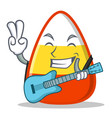 with guitar candy corn character cartoon vector image vector image