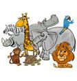 cartoon safari animal characters group vector image