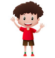 boy in red shirt waving hands vector image