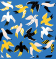 abstract flying birds papercut style seamless vector image