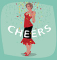 attractive young girl in red dress welcome vector image vector image