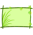bamboo frame with grass and flower vector image