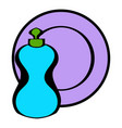 bottle dish soap with a clean dish icon vector image