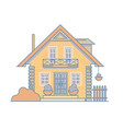 brick cosy cottage house with a balcony attic vector image