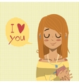 cartoon flat I love you greeting card vector image
