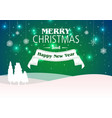 christmas background with tree silhouette vector image