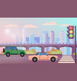 cityscape highway with traffic lights road street vector image vector image