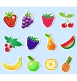 cute cartoon fruit sticker set vector image