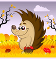 cute hedgehog in the woods in the fall vector image vector image