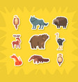 cute wild animals stickers eagle wolf buffalo vector image vector image