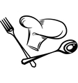 Cutlery silhouette with hat vector image vector image