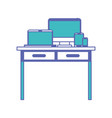 desk table with drawers front view with tech vector image