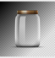 empty glass jar isolated on transparent background vector image vector image