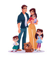 family mother father two daughters and son dog vector image