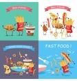 Fast Food Cartoon Characters Banner Set vector image