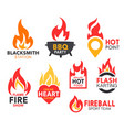 fire flame and blaze flaming heart and map point vector image