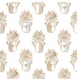 flowers in watering cans beige colors seamless vector image vector image