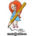 girl with pencil back to school cartoon vector image vector image