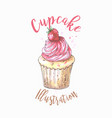 Hand drawn cupcake with