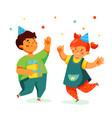happy children celebrating - colorful flat design vector image