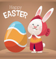 happy easter card girl bunny egg decoration vector image