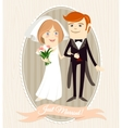 Hipster funny couple just married Flat style vector image
