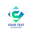 initial letter e logo template colored blue vector image vector image