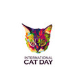 international cat day logo vector image vector image