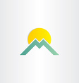 letter m mountain and sun symbol vector image vector image