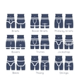 Male underwear types flat silhouettes icons vector image