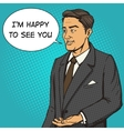 Man in a business suit speaks comic book vector image vector image