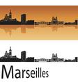 Marseilles skyline in orange background vector image vector image
