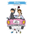 newlyweds go by car vector image vector image