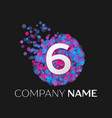 number six logo with blue purple pink particles vector image vector image