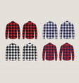 plaid shirts patterned front and back view design vector image