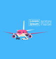 plane in sky airplane over blue background vector image vector image
