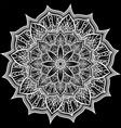 round white lace ornament on black doily vector image