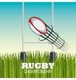 rugby ball goal post and field graphic vector image vector image