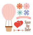 save the date balloon basket hearts flowers and vector image
