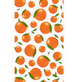 seamless pattern orange fruits with leaves vector image