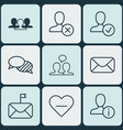set of 9 communication icons includes ban person