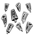 set of hand drawn nozzles for aerosol cans in vector image vector image