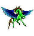 silhouette running horse pegasus vector image vector image