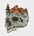 skull and mountain vector image vector image