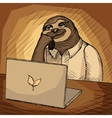 Sloth office worker cartoon vector image
