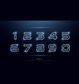 technology number abstract neon font and alphabet vector image