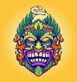 tiki marijuana leaf and cloud vape vector image