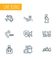 transportation icons line style set with baggage vector image vector image