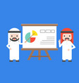 two arab businessman presentation with vector image