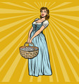 village woman with a basket eggs vector image